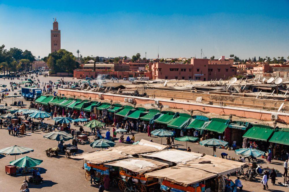 Place Djemaa El Fna, het bekende marktplein van Marrakech
