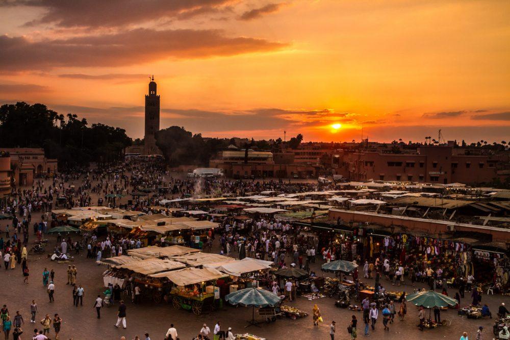 De zon laat zich veel zien in Marrakech.